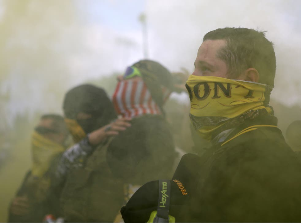 Members of Proud Boys gather for a rally in Portland, Oregon, US, 26 September 2020