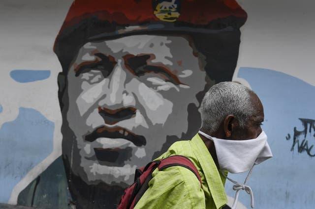 Mural del fallecido presidente Hugo Chávez, en Caracas, Venezuela.