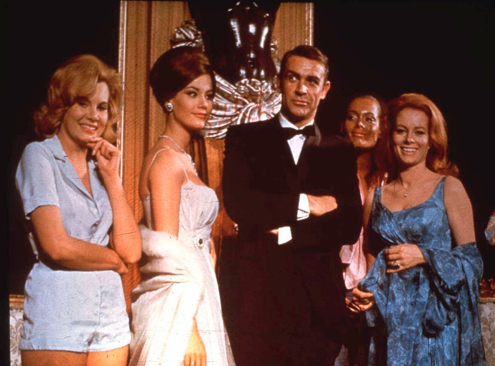 <p>Sean Connery and fellow cast members – including Molly Peters (Patricia Fearing), left – promote the new 007 adventure 'Thunderball' in  1965 </p>
