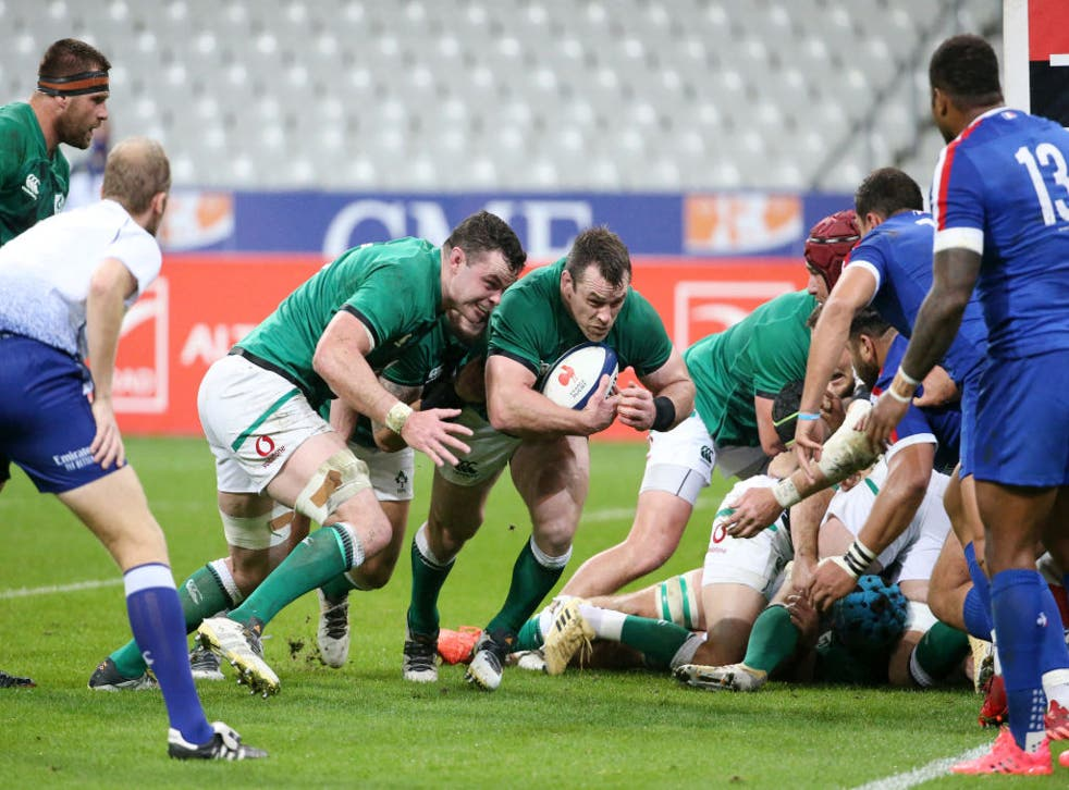 Cian Healy of Ireland scores a try