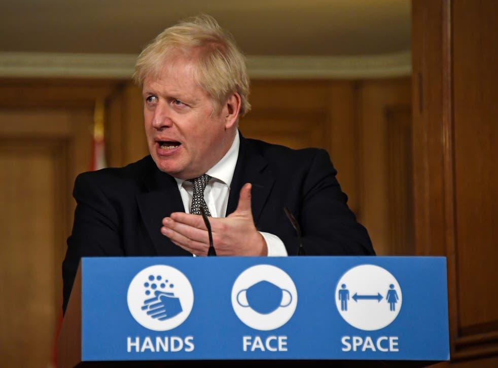 <p>Boris Johnson addresses the media in No 10 on Saturday</p>