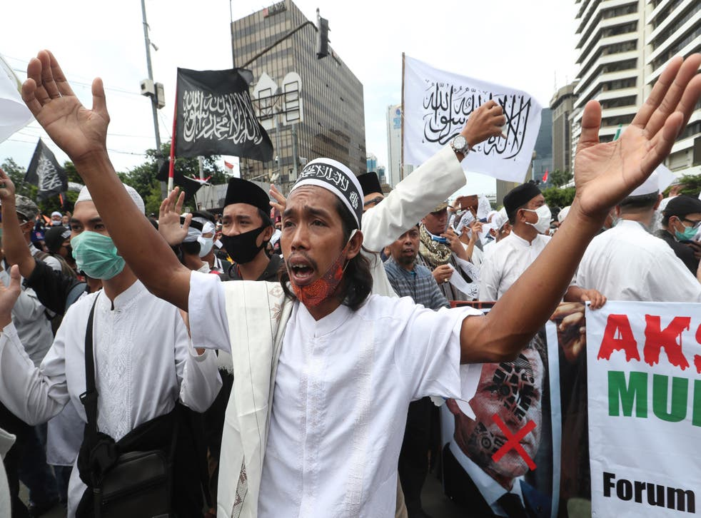 Indonesia French Muslim Protests