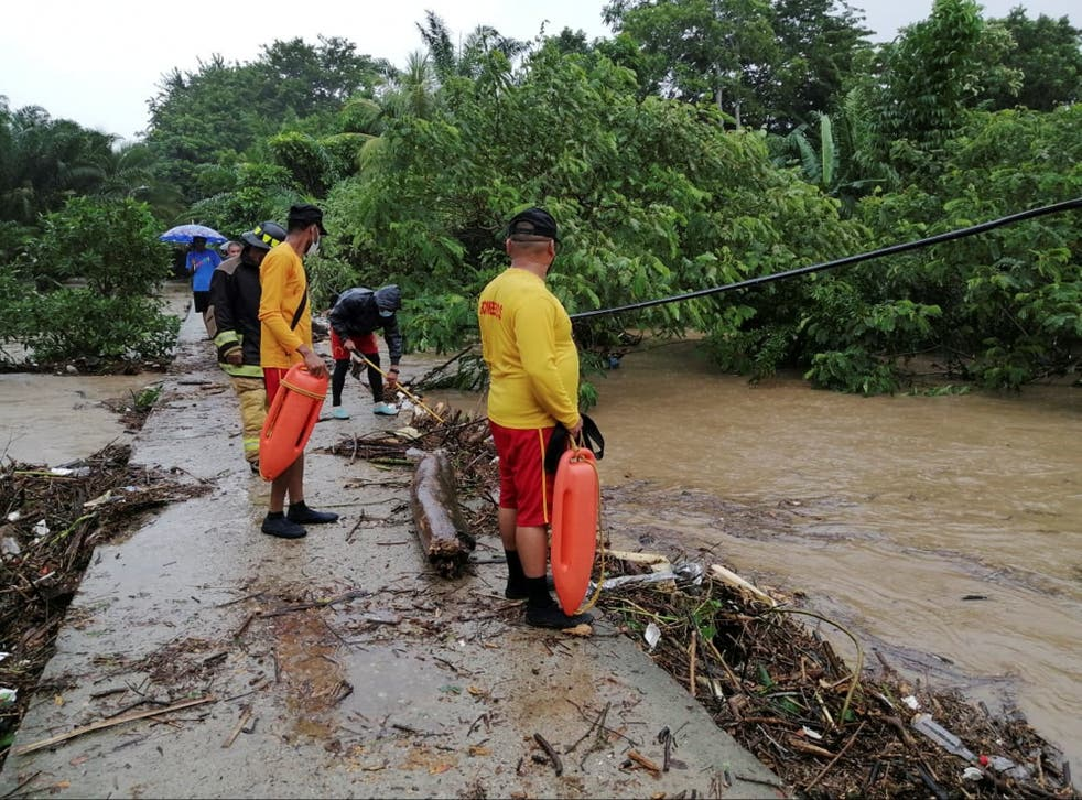 Rescue work taking place in a flooded area due to Hurricane Eta, in the city of Tela in the Honduran Caribbean