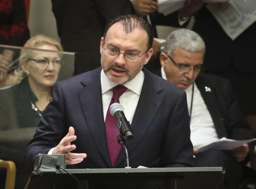 uis Videgaray, entonces secretario de relaciones exteriores de México, en las Naciones Unidas, el 26 de septiembre del 2018.