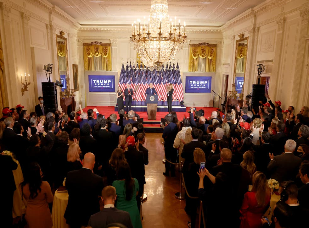 <p>Donald Trump giving an address from the White House early on Wednesday morning</p>