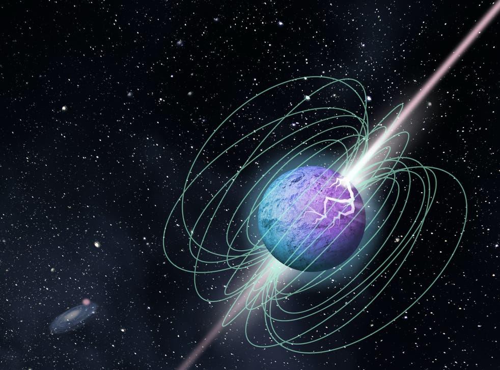 <p>Las ráfagas de energía de radio parecen provenir de un magnetar, o una estrella con un campo magnético muy poderoso.</p>