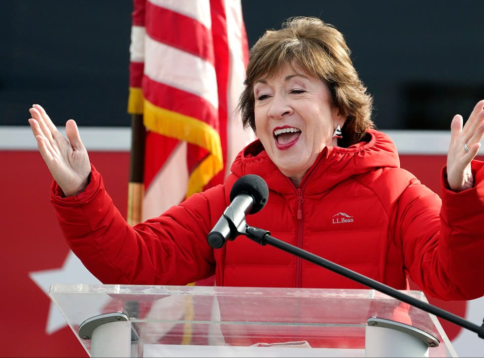 Republican senator Susan Collins, R-Maine, speaks on Wednesday 4 November 2020, in Bangor, Maine, after Tuesday's election