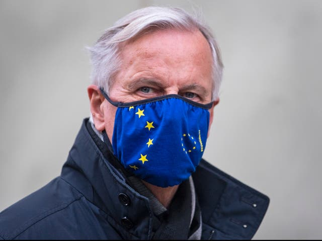 EU's chief negotiator Michel Barnier walks back to his hotel in Westminster during a break in trade talks.