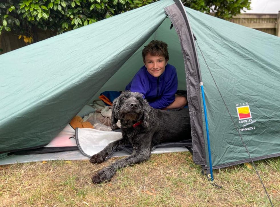 A North Devon boy is camping in his garden to raise money for charity
