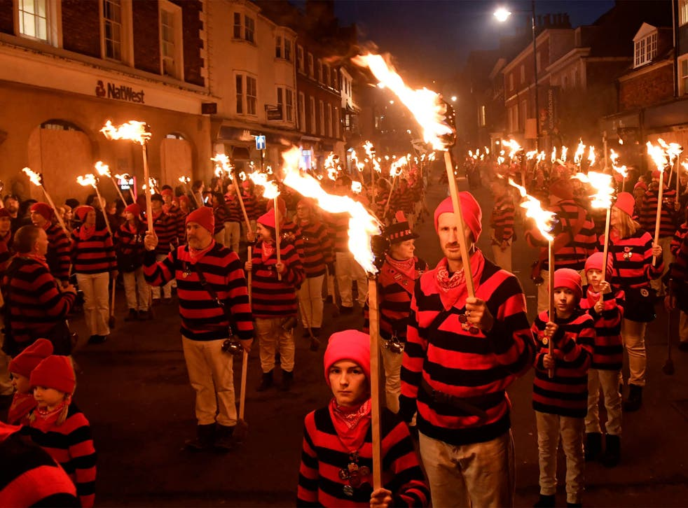 Trains have been cancelled going into Lewes, East Sussex, where one of the largest annual Bonfire Night festivities takes place