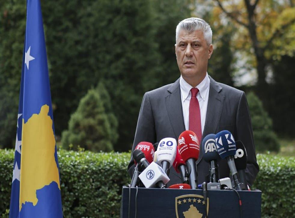Thaci fue imputado en junio junto con otros nueve exlíderes rebeldes por una corte especial en Kosovo.