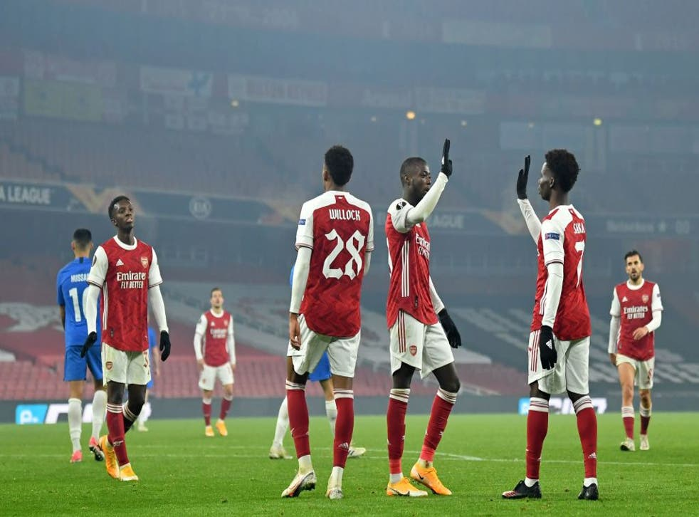 <p>Saka and Pepe combined for a fine goal</p>
