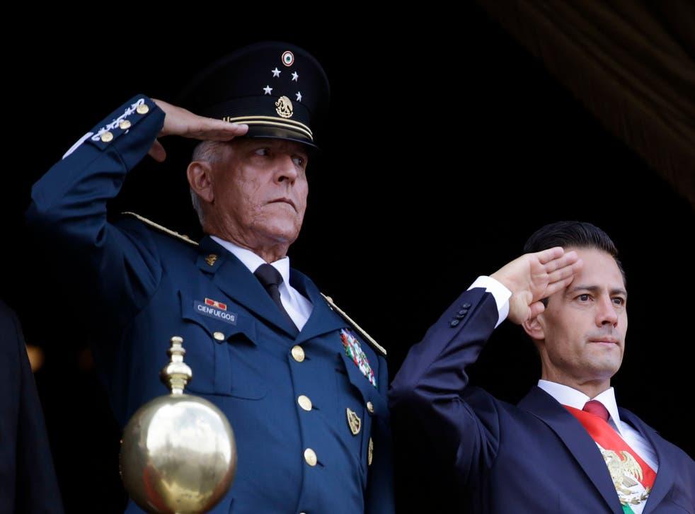 <p>Cienfuegos fue secretario de la defensa nacional de México durante el gobierno de Enrique Peña Nieto</p>