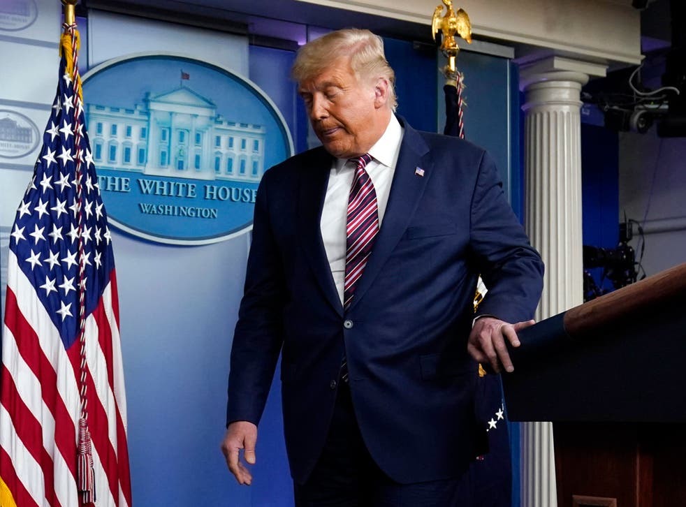 <p>Exit stage left? Donald Trump leaves the podium after speaking at the White House on Thursday</p>