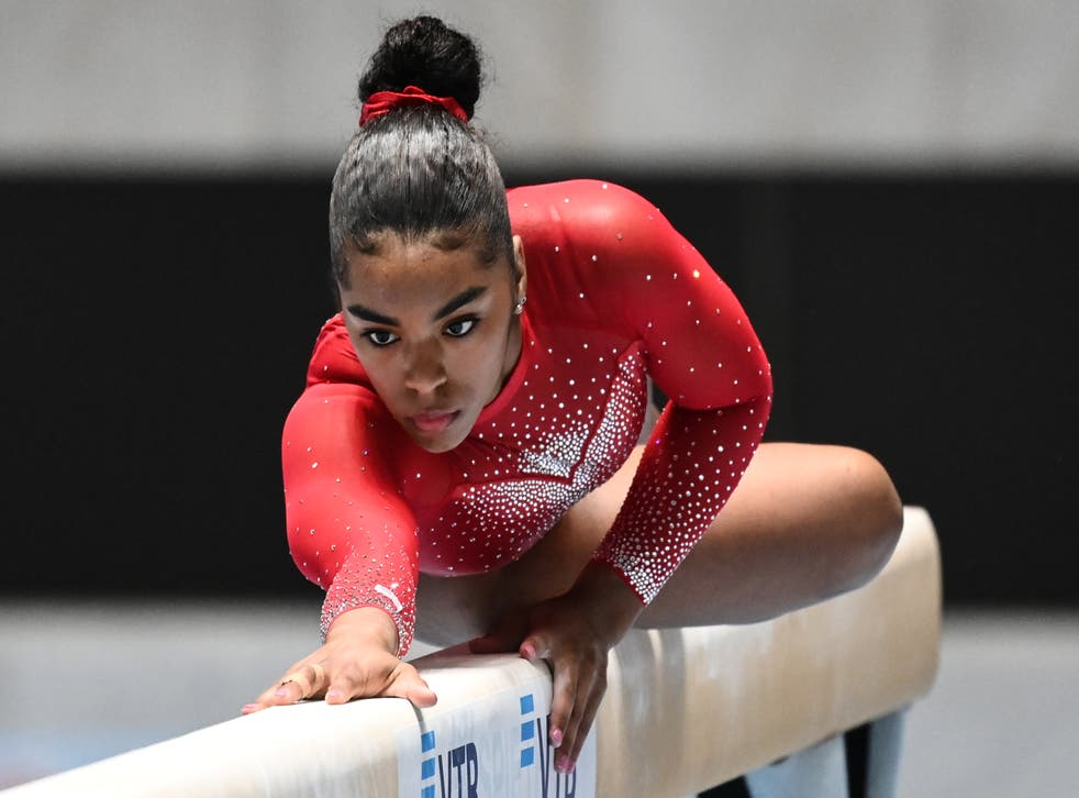 Emjae Frazier of the US performs on the balance beam