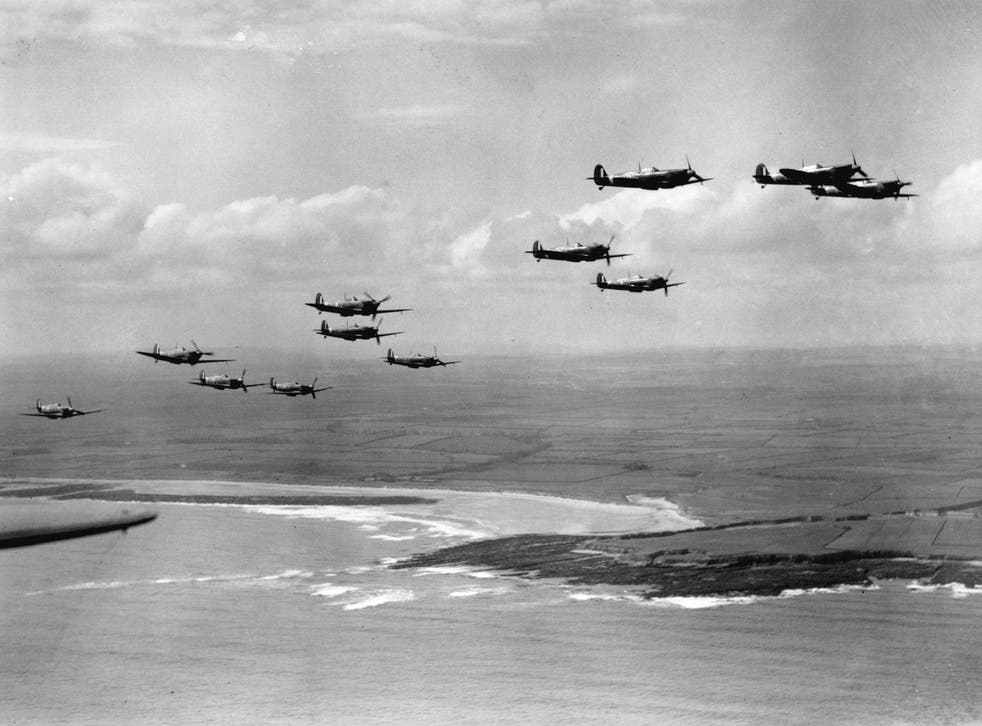 <p>Spitfires on patrol over the coast during the Battle of Britain</p>
