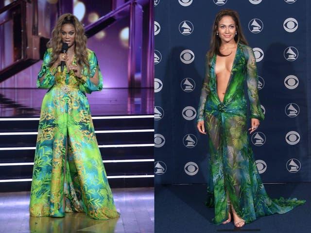 Tyra Banks recreates JLo's iconic Versace dress on DWTS