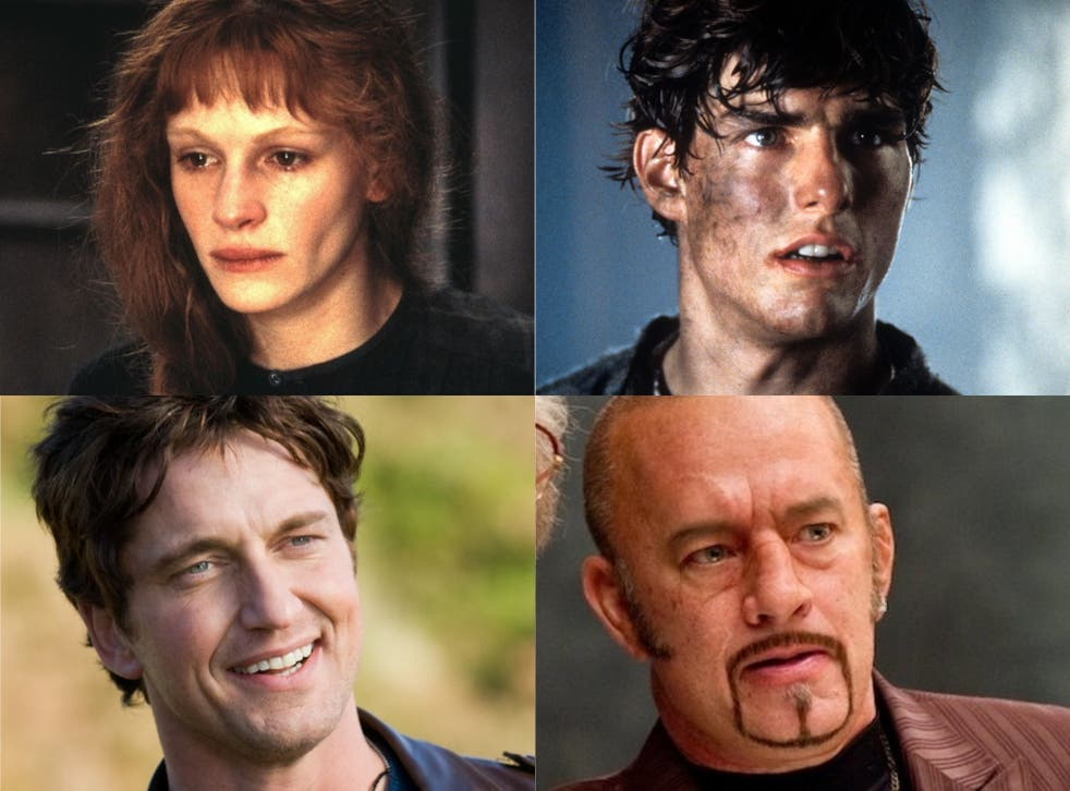 <p>Clockwise from top right: Tom Cruise, Tom Hanks, Gerard Butler and Julia Roberts</p>