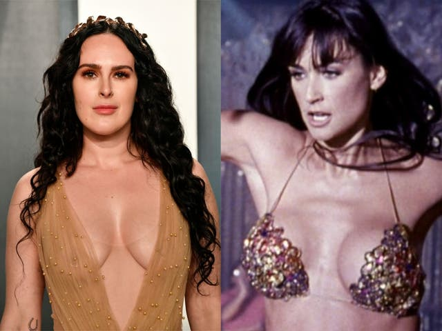 Rumer Willis at an Oscar party in February, and Demi Moore in 'Striptease'
