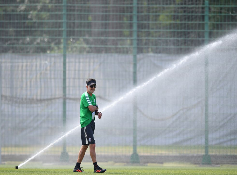 Juan Carlos Osorio, coach of Mexico looks on during a training at Training Base Novogorsk-Dynamo, on June 29, 2018 in Moscow, Russia.