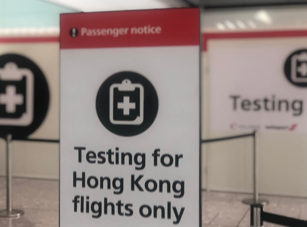 Ready for action: Heathrow airport has coronavirus testing facilities in place, but at present most travellers must seek a private provider in advance