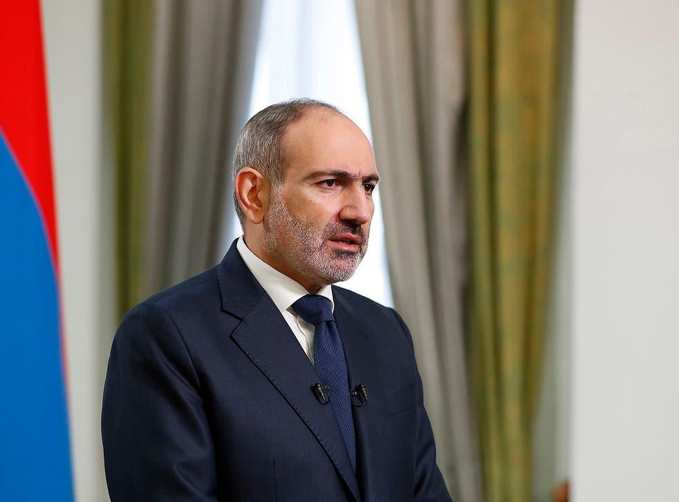 <p>Armenian prime minister Nikol Pashinyan during his address to the nation in Yerevan, Armenia</p>