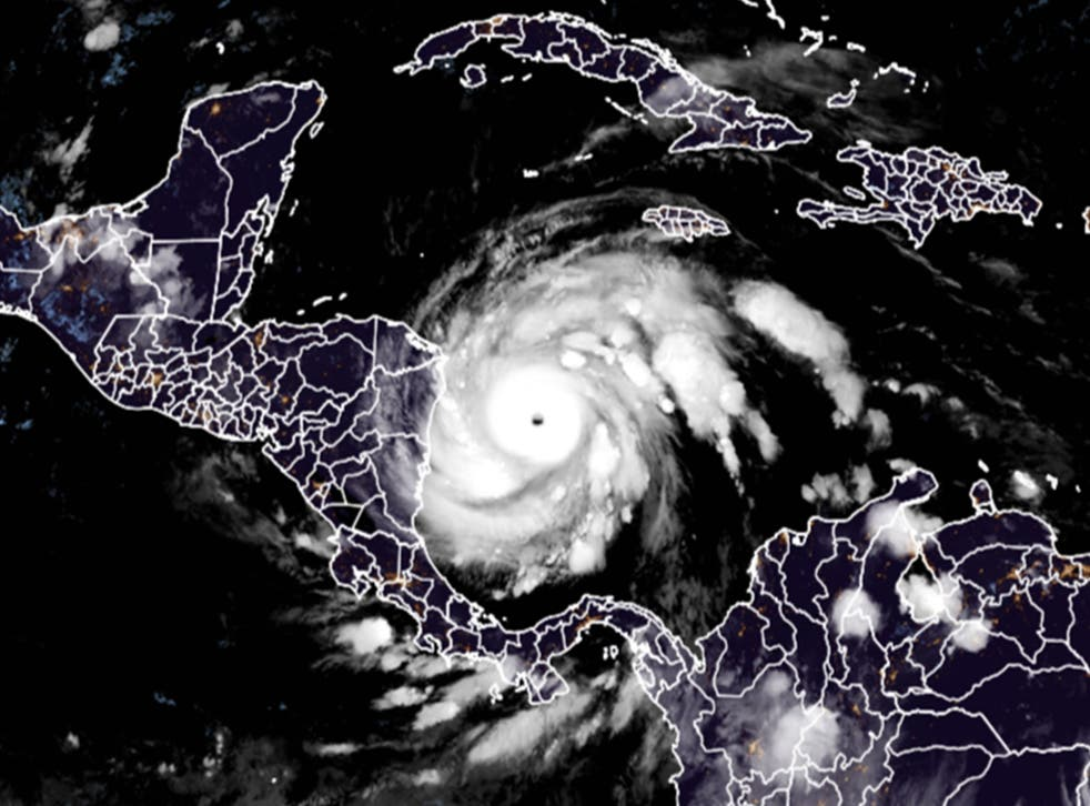 This RAMMB/CIRA satellite image shows Hurricane Iota on November 16, 2020 at 06:50 UTC as it approaches Central America