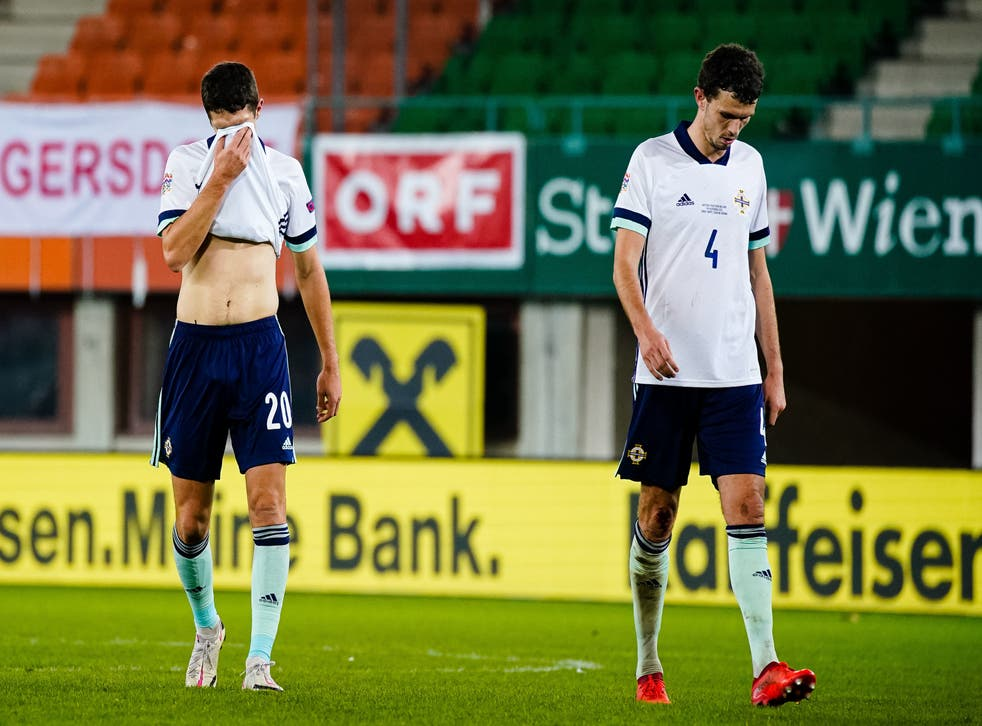 Northern Ireland players react to defeat in Austria