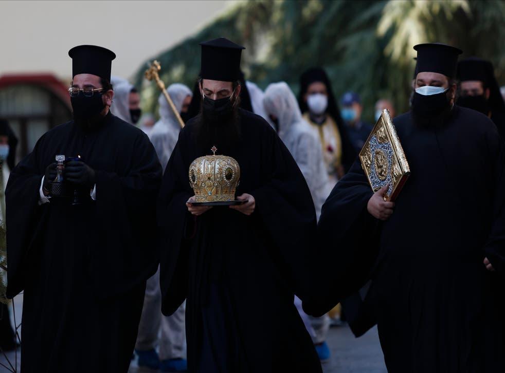 Virus Outbreak Greece Bishop's Death
