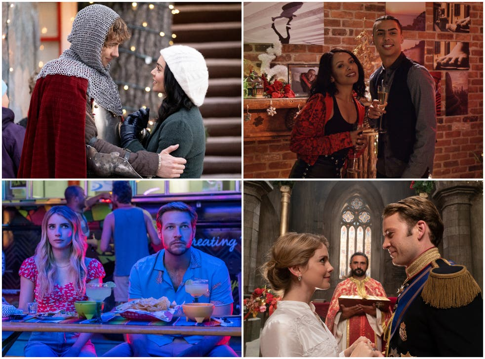Clockwise from top left: 'The Knight Before Christmas', 'The Holiday Calendar', 'A Christmas Prince: The Royal Wedding', 'Holidate'