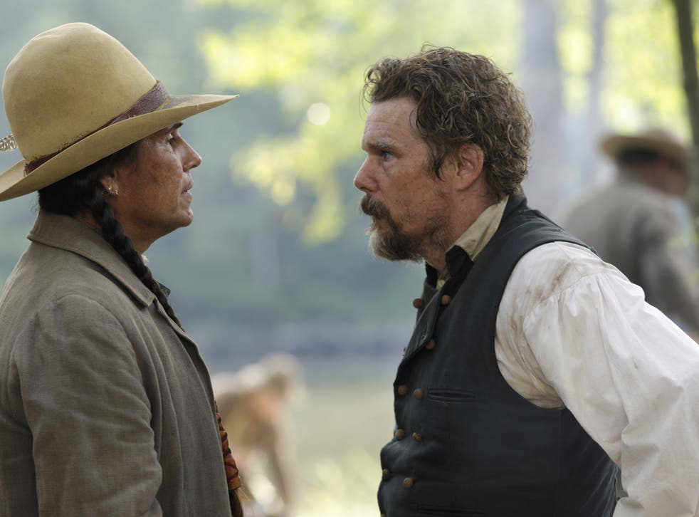 <p>Mo Brings Plenty as Ottawa Jones and Ethan Hawke as John Brown in episode one of 'The Good Lord Bird'</p>