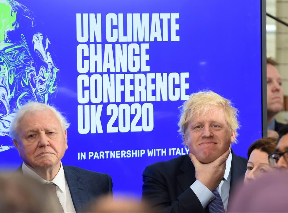 <p>Boris Johnson, seen with Sir David Attenborough, wants to reduce nation's carbon footprint before the COP26 summit next November</p>