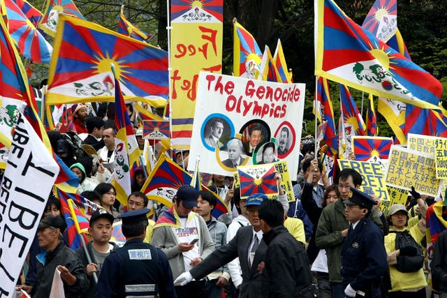 <p>Protesters marching in solidarity with Tibet during the 2008 Olympic torch relay in Nagano, Japan</p>