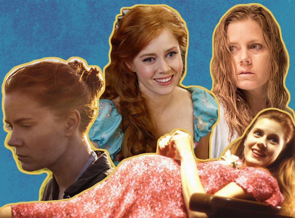 (L-to-R): Amy Adams in Arrival, Enchanted, Sharp Objects and Junebug