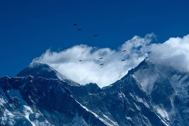 Las aves captadas volando sobre la montaña del Himalaya, el Monte Everest y otras cordilleras de Namche Bazar en la región del Everest, a unos 140 kms al noreste de Katmandú el 26 de marzo de 2020.