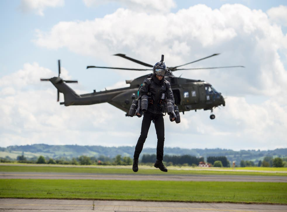 <p>Browning &nbsp;at Yeovilton air base: the future looks bright for jet-suit travel</p>