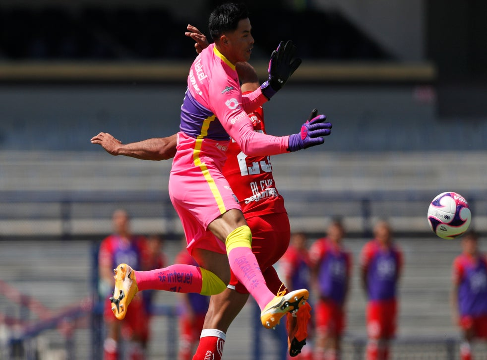 <p>Alfredo Talavera, portero de Pumas, pelea por el balón durante el juego ante Toluca.</p>