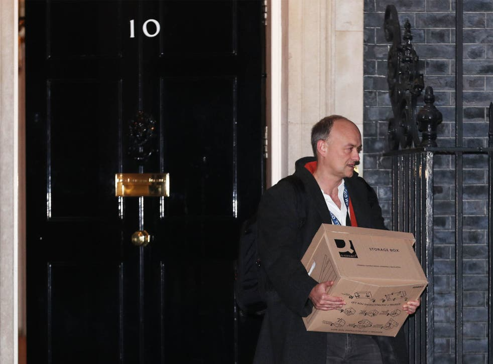 <p>Boris Johnson's former aide Dominic Cummings leaves Downing Street in November</p>