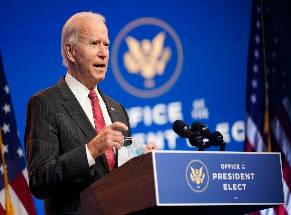 <p>El presidente electo de EEUU, Joe Biden, habla en teatro The Queen en Wilmington, Delaware, el 19 de noviembre de 2020.</p>