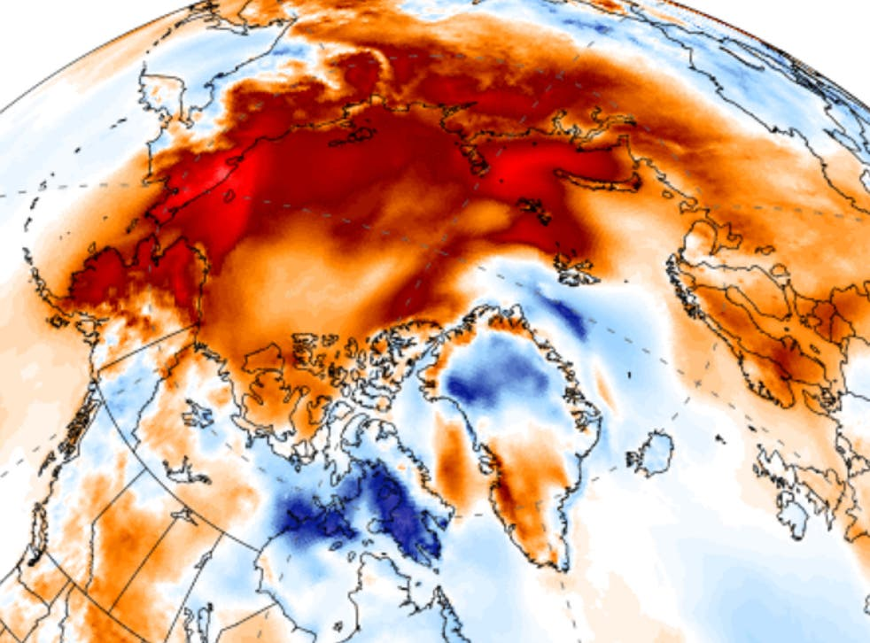 Temperatures over an area almost twice the size of the USA were more than 6C above 1990s averages on 21 November