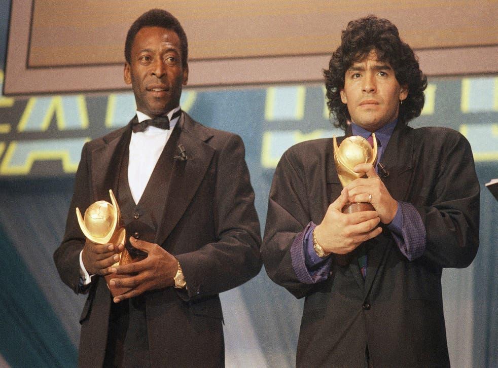 <p>Maradona y Pelé</p>
