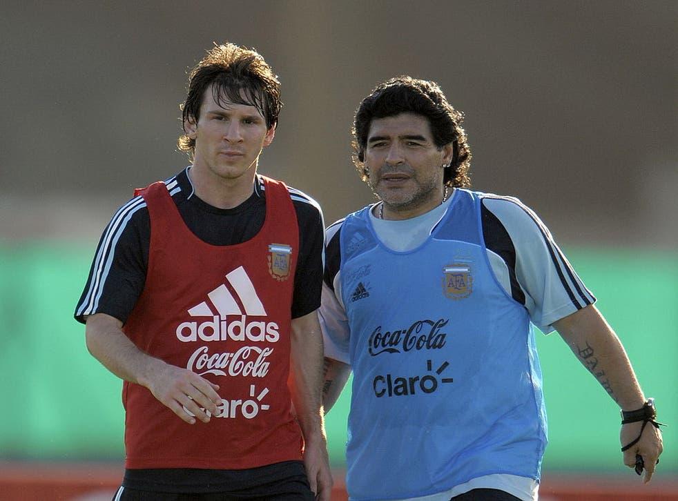 <p>Maradona y Messi protagonizaron un total de 24 partidos con saldo favorable de 18 victorias y solo seis derrotas</p>