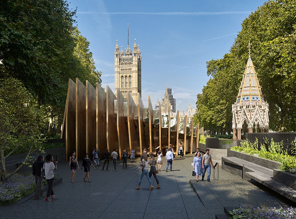 <p>Dubbed the 'toast-rack', the main part of the memorial consists of 23 tall bronze 'fins'</p>