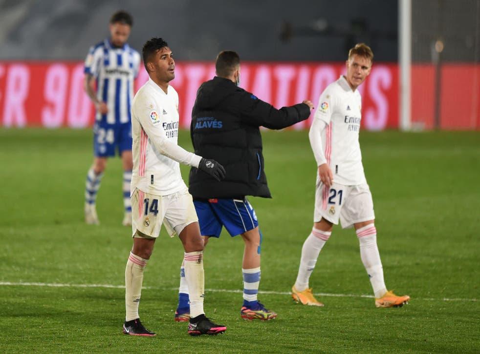 <p>Real Madrid estuvo cerca de rescatar el empate en los minutos finales del juego</p>