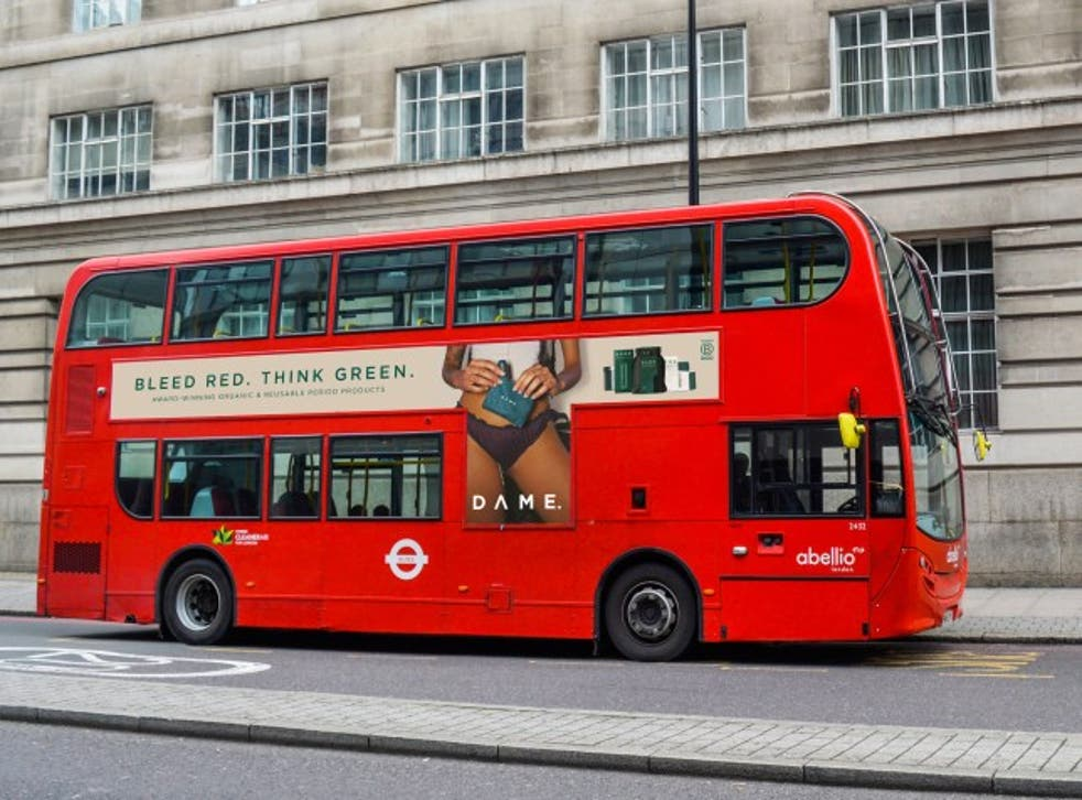 <p>Dame's new bus campaign showing a tampon string</p>