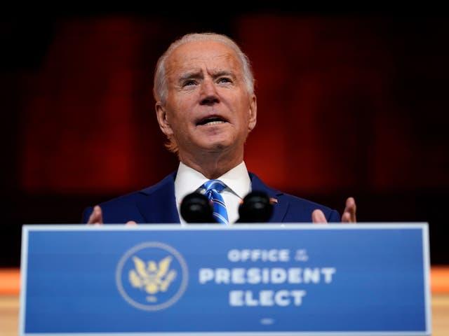 President-elect Joe Biden speaks at The Queen theatre, Wednesday 25 November 2020, in Wilmington, Delaware