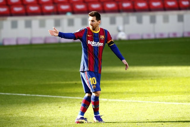 El delantero argentino del Barcelona Lionel Messi durante el partido contra Osasuna.