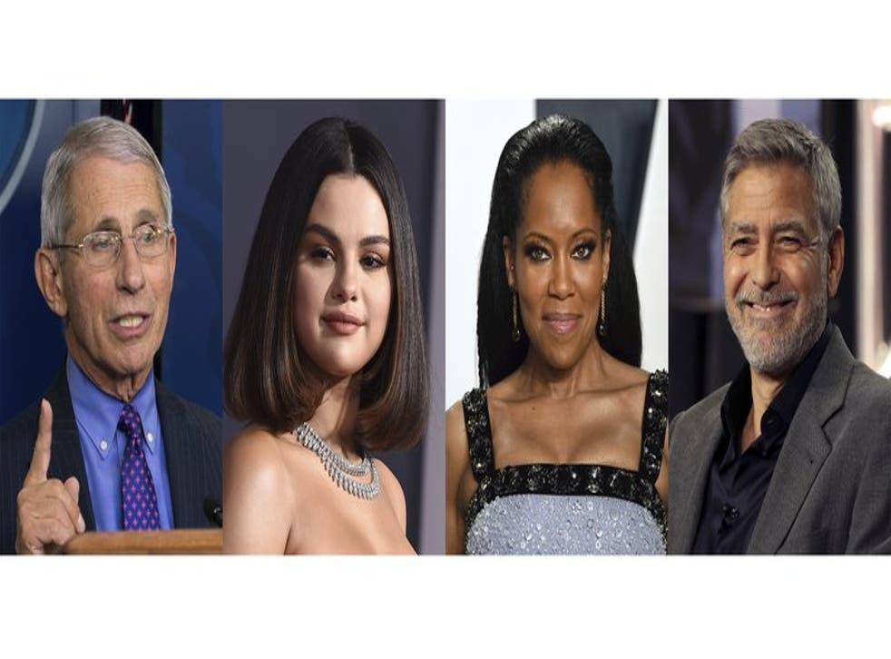 """En esta combinación de fotos, el doctor Anthony Fauci, la actriz y cantante Selena Gomez, la actriz y directora Regina King y el actor y activista George Clooney, quienes fueron nombrados """"Personas del Año 2020"""" por la revista People. Los cuatro serán celebrados por su impacto positivo en el mundo durante este año desafiante en una edición doble con cuatro portadas que sale a la venta el viernes."""