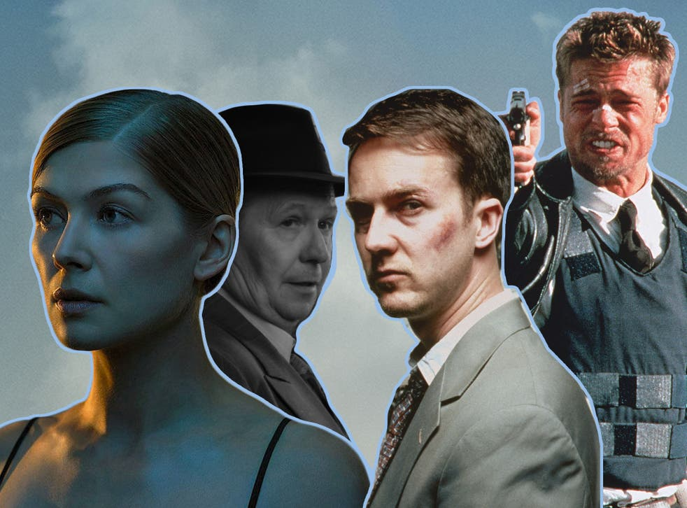 <p>Leading lights: (from left) Rosamund Pike in 'Gone Girl', Gary Oldman in 'Mank', Edward Norton in 'Fight Club' and Brad Pitt in 'Se7en'</p>