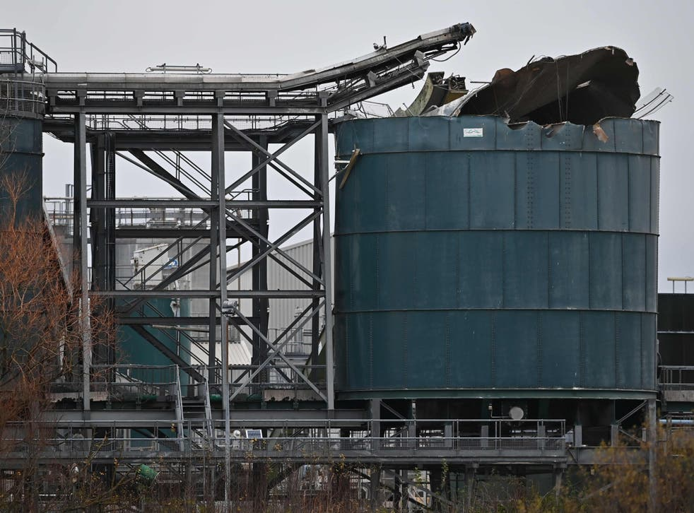 <p>A silo at the plant was damaged in the blast</p>